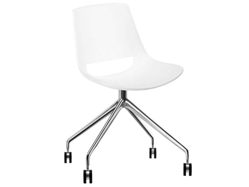 Trestle-based chair with casters PALM | Chair with casters - Arper