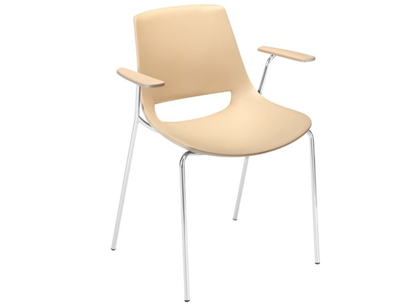 Stackable chair with armrests PALM | Chair with armrests - Arper