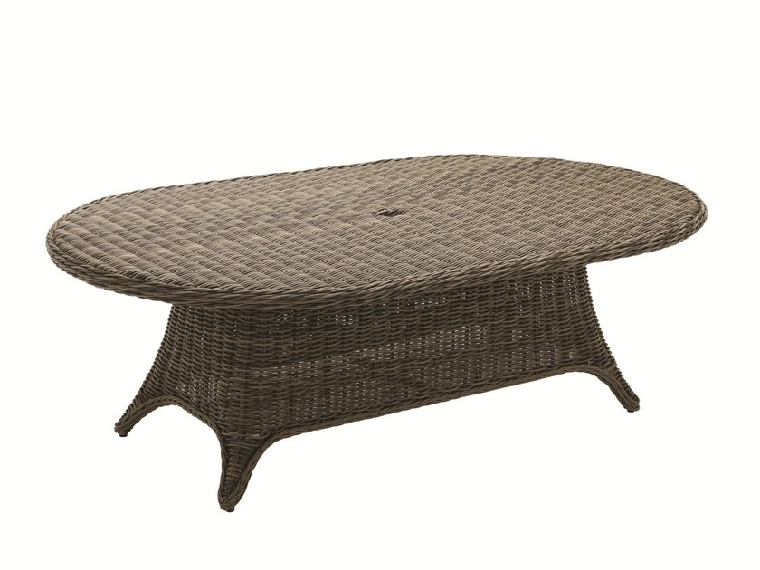 Oval wicker garden table HAVANA | Oval garden table - Gloster