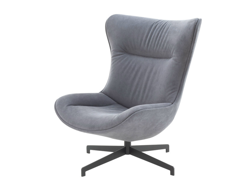 Swivel upholstered armchair