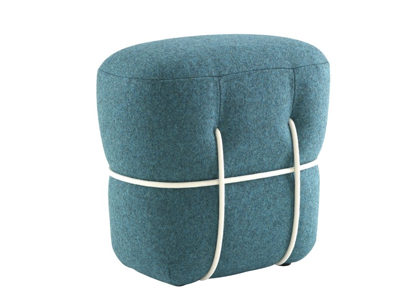 Upholstered pouf with removable lining LACE by Ligne Roset
