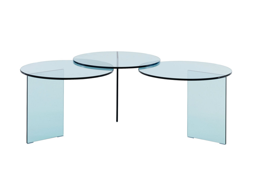 Round tempered glass coffee table AOYAMA by Ligne Roset