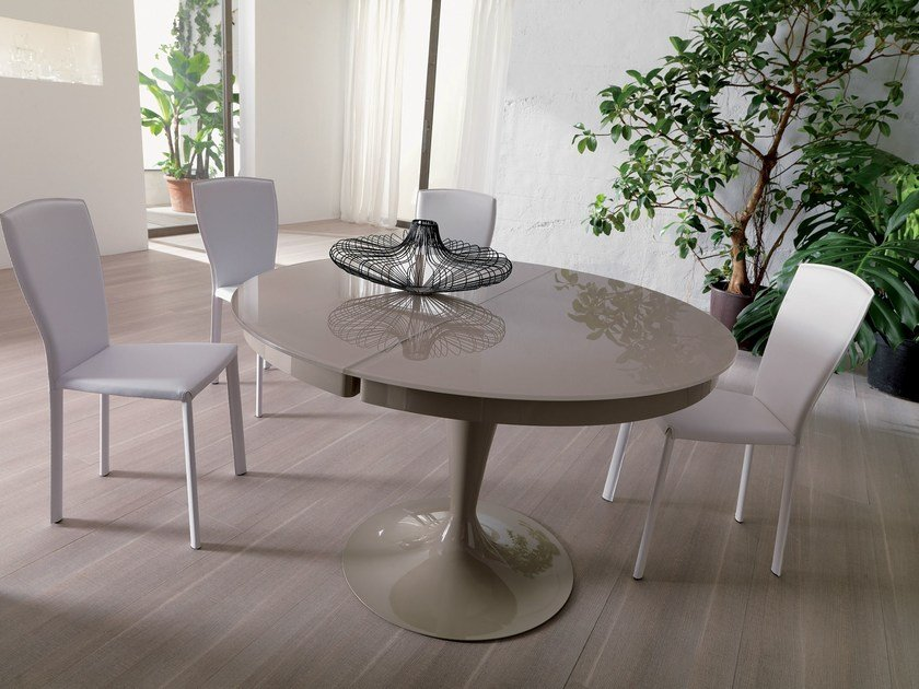 Extending round crystal table ECLIPSE by Ozzio Italia