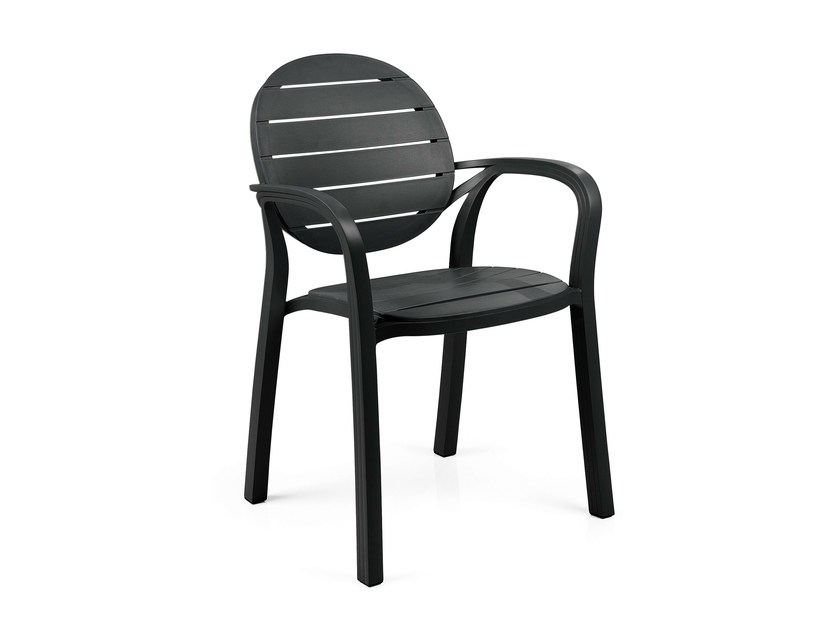 Contemporary style stackable polypropylene garden chair with armrests PALMA - Nardi