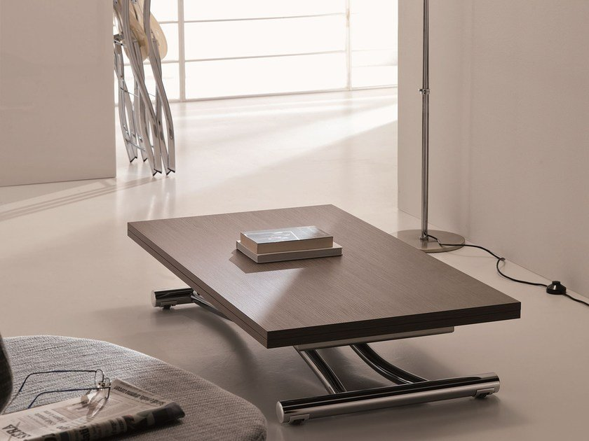 Height-adjustable extending rectangular coffee table