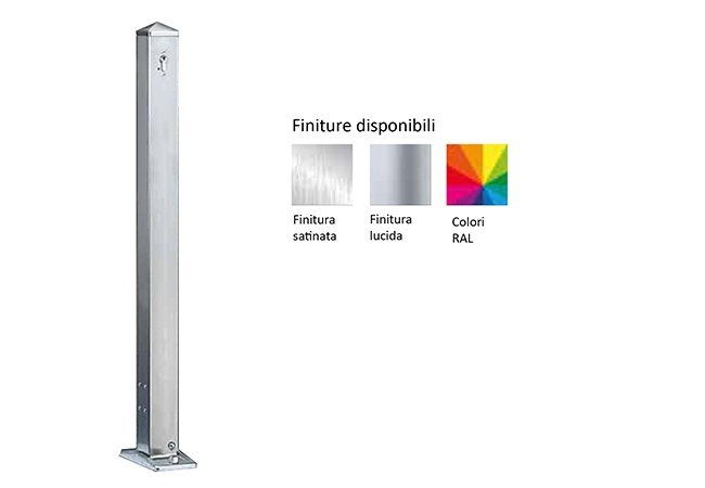 Stainless steel bollard post with base plate SATURNO 70x70 MM by Lazzari