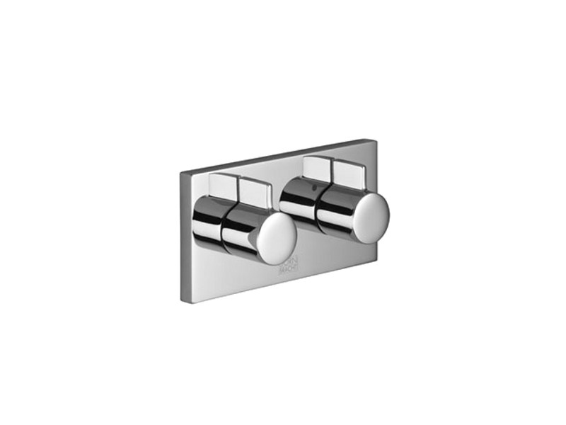2 hole chrome-plated shower tap with plate
