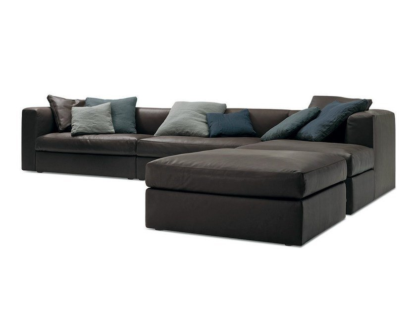 Corner leather sofa DUNE | Leather sofa - Poliform