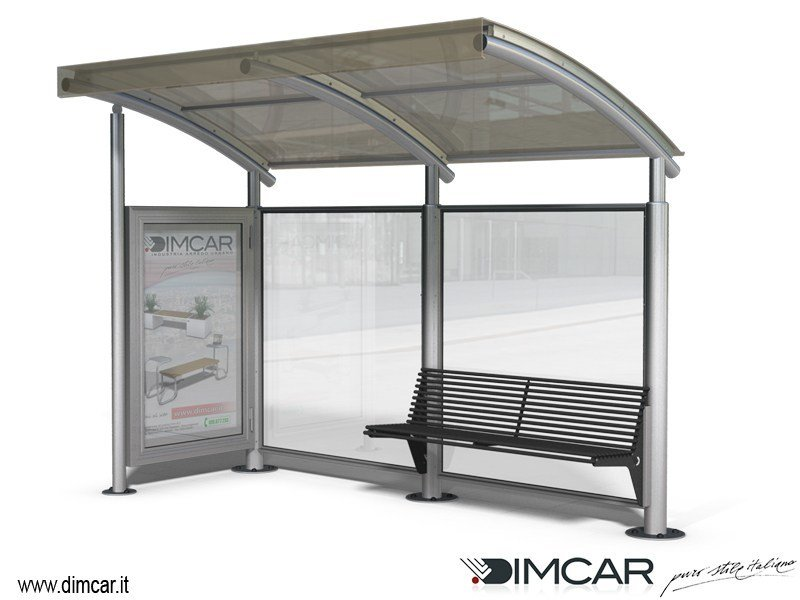 Porch for bus stop Pensilina Space con parete laterale by DIMCAR