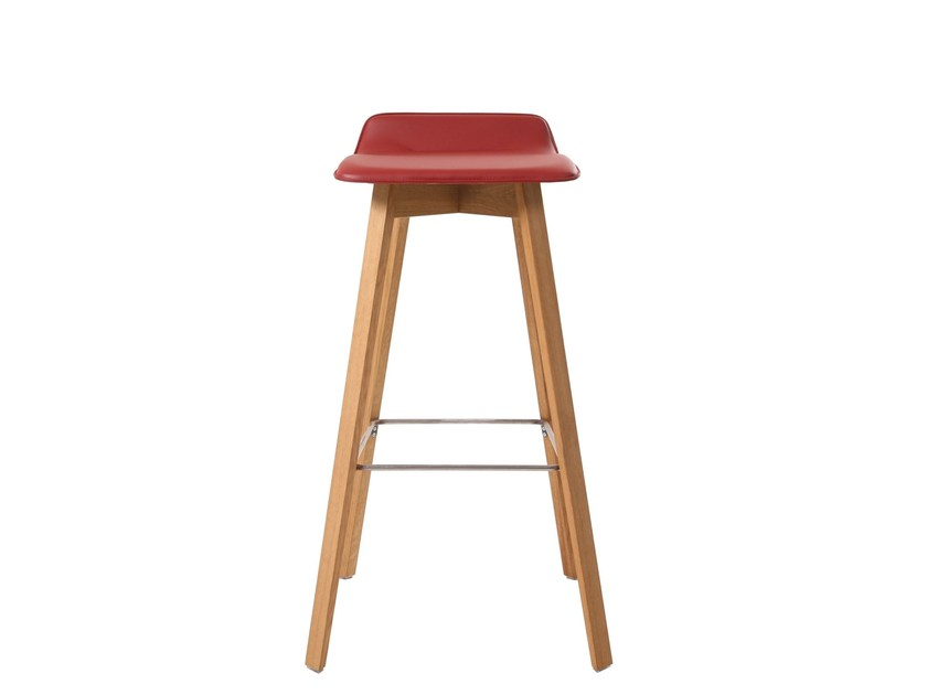 Upholstered leather barstool