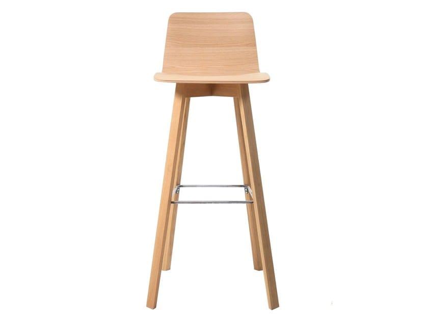 High wooden barstool MAVERICK | Multi-layer wood stool by KFF