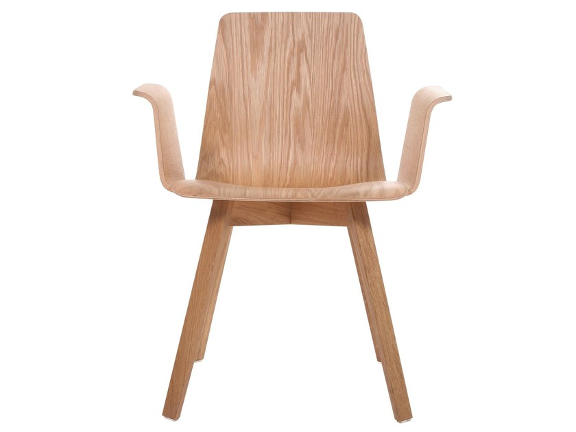 Solid wood chair with armrests
