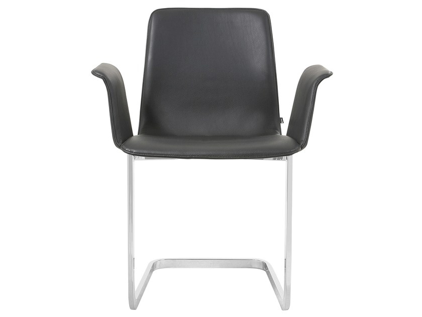 Cantilever leather chair with armrests MAVERICK | Chair with armrests - KFF