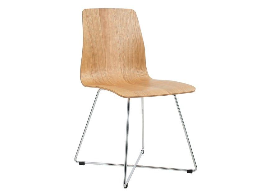 Sled base multi-layer wood chair MAVERICK | Sled base chair - KFF