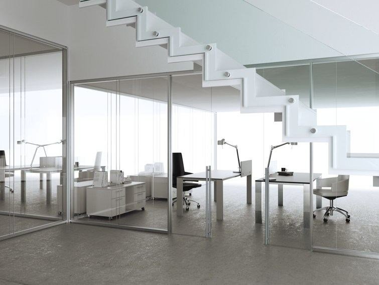 Glass and aluminium office partition ALLinONE by MASCAGNI