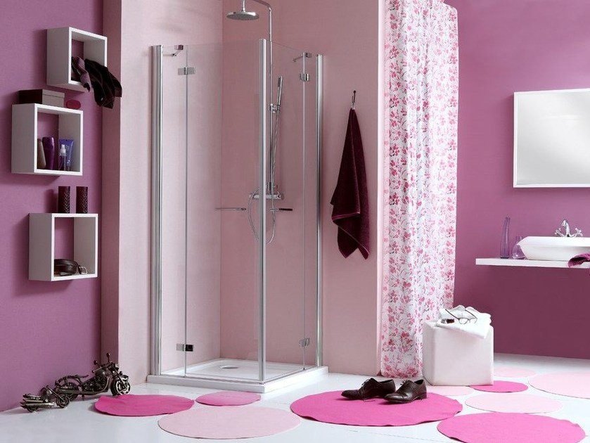 Corner shower cabin with hinged door WEB 2.0 A - MEGIUS