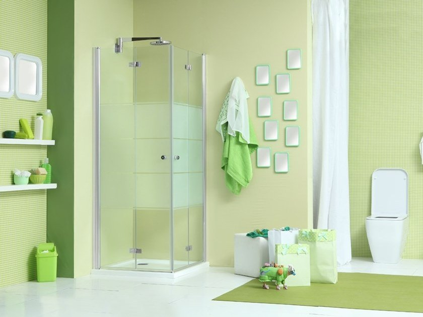 Corner shower cabin with folding door WEB 3.0 A by MEGIUS