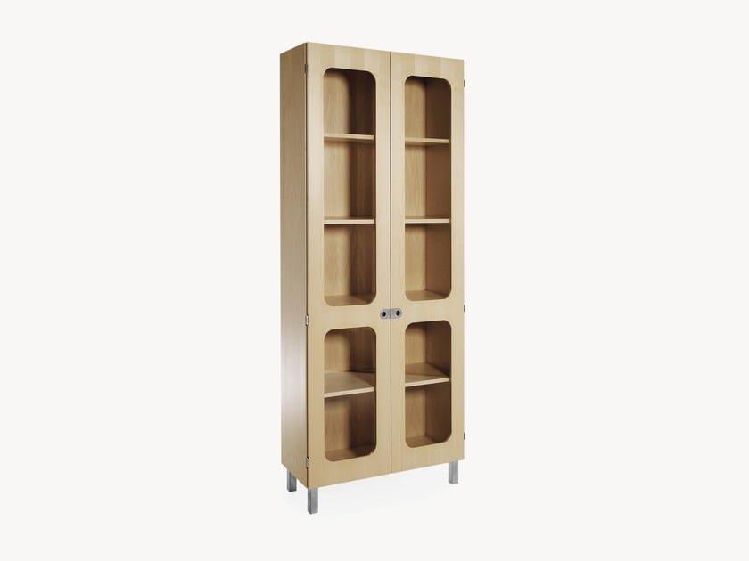 Wood veneer highboard / display cabinet - Libreria / vetrina in legno impiallacciato