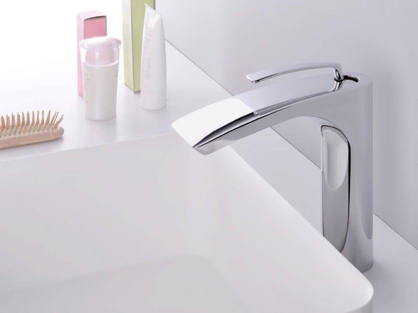 Chrome-plated single handle washbasin mixer BOLLICINE by CRISTINA