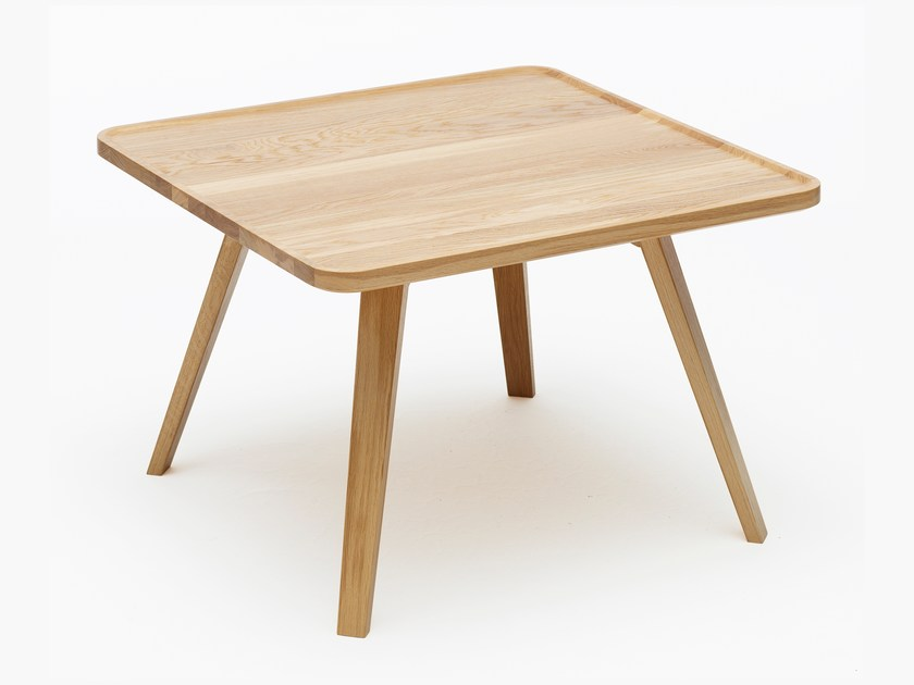 Low square solid wood side table