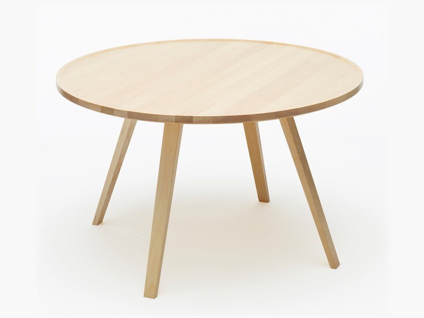 Low round solid wood coffee table