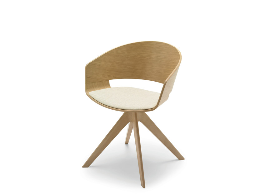 Trestle-based chair with integrated cushion BRANDY | Chair with integrated cushion by Andreu World