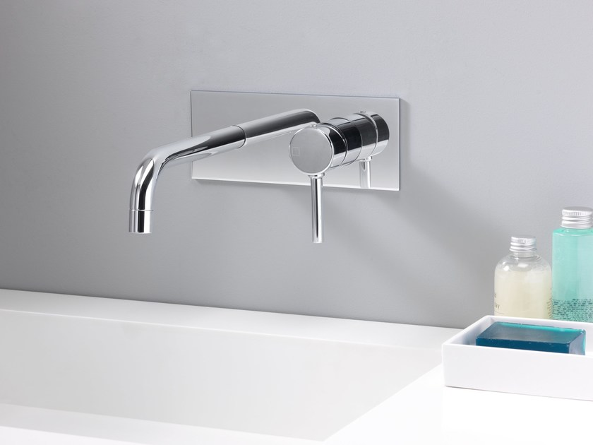 Wall-mounted chrome-plated sink mixer