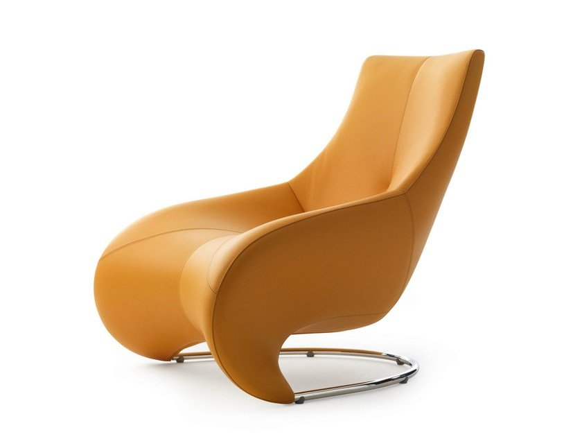 Upholstered leather armchair DARIUS - LEOLUX