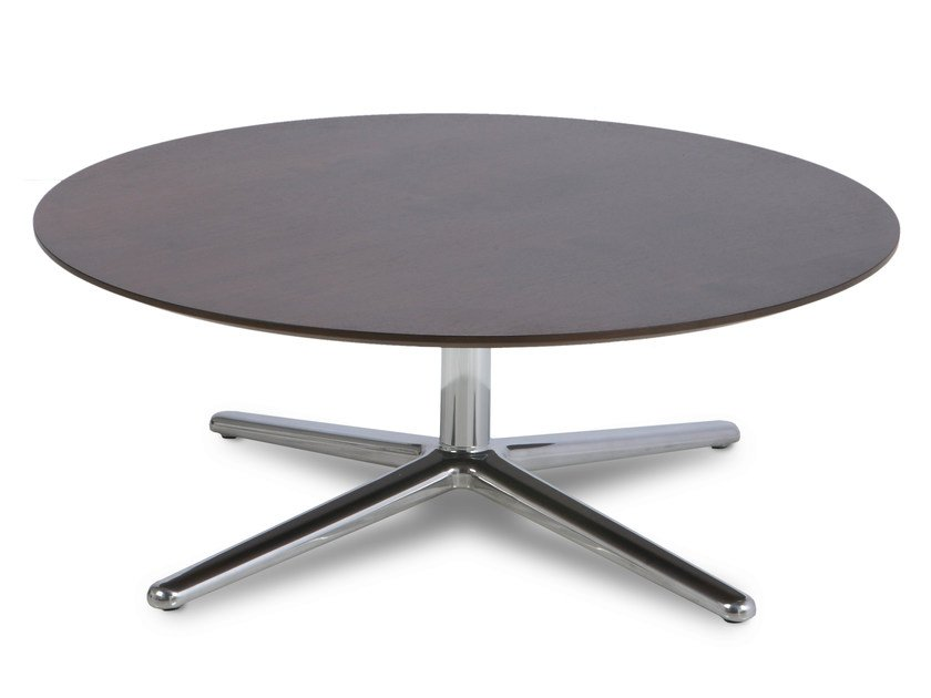 Low round coffee table with 4-star base