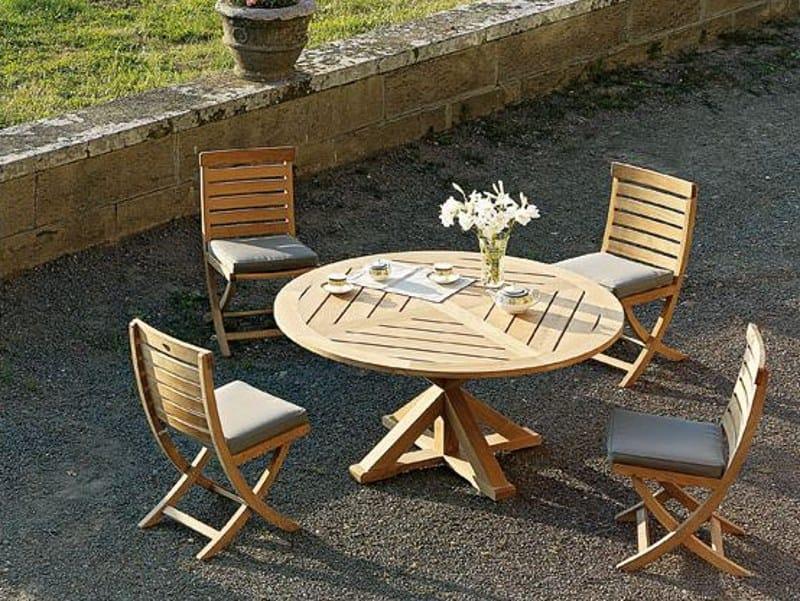 Tavolo da giardino rotondo in teak cronos tavolo da for Tavolo tondo estensibile