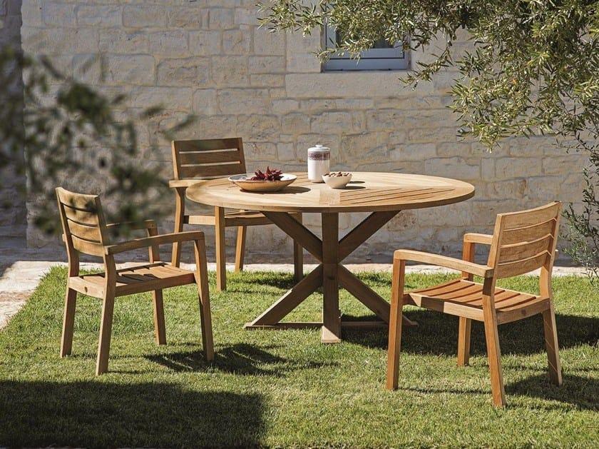 Cronos tavolo da giardino rotondo by ethimo - Tavolo rotondo da giardino ...
