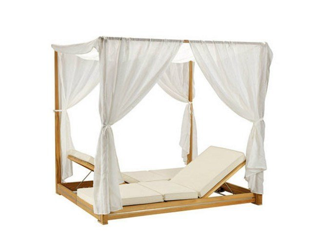 Canopy Recliner teak garden daybed ESSENZA | Canopy garden daybed by Ethimo