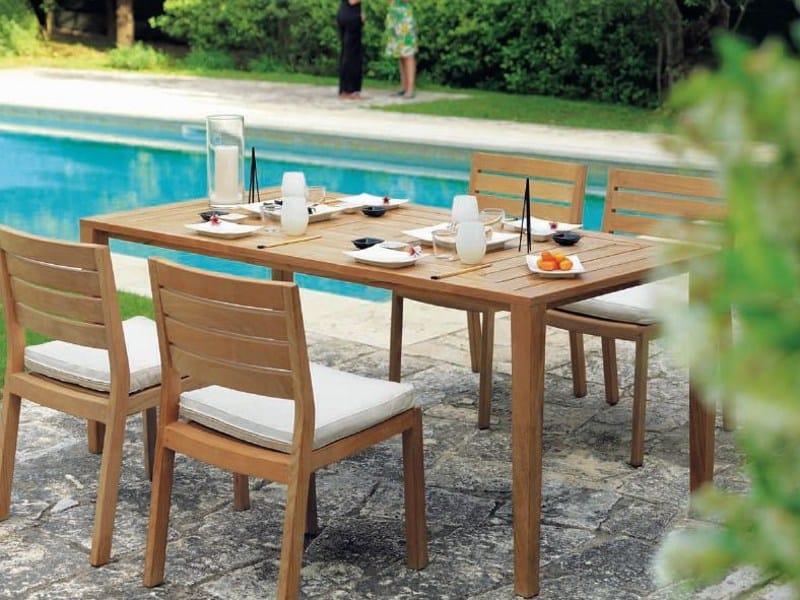 Tavolo da giardino rettangolare in teak friends by ethimo for Giardino rettangolare