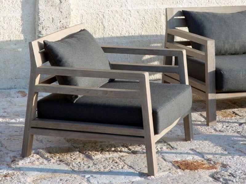 Teak garden armchair with armrests COSTES | Garden armchair by Ethimo