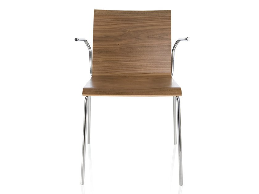 Walnut chair with armrests