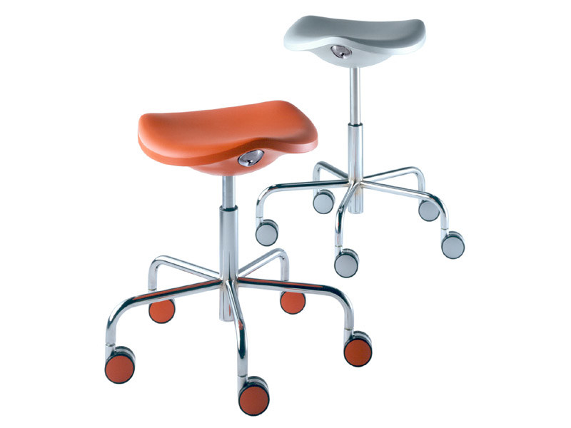 Height-Adjustable Stool with Casters