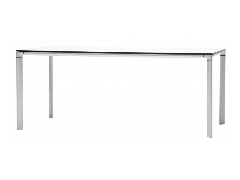 Rectangular wood veneer table BLEND - Abstracta