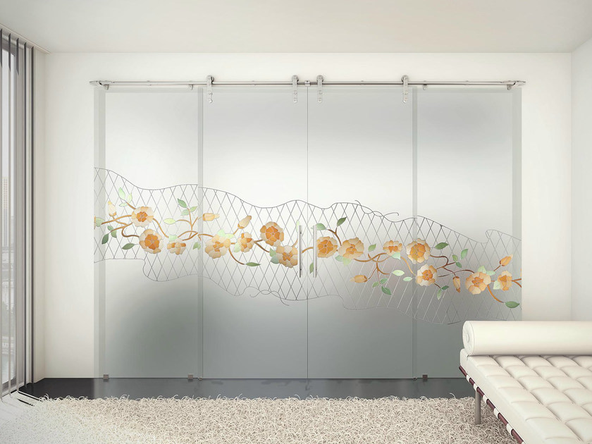 Glass and steel Sliding door