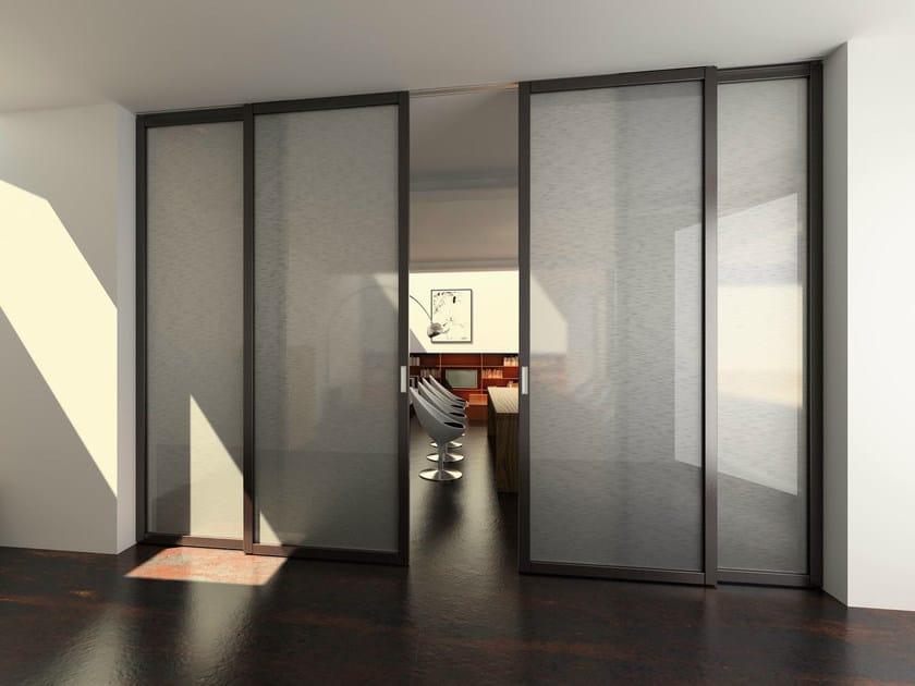Porta scorrevole in vetro con binario per controsoffitto - Porta scorrevole con vetro ...