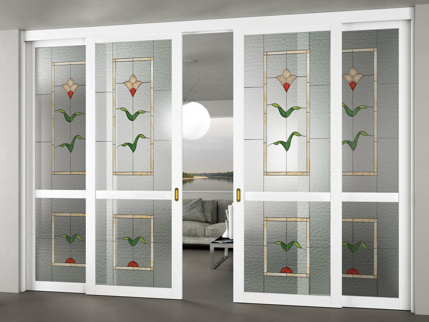 Glass Sliding door with fixed lateral wings ALESSANDRA by FOA