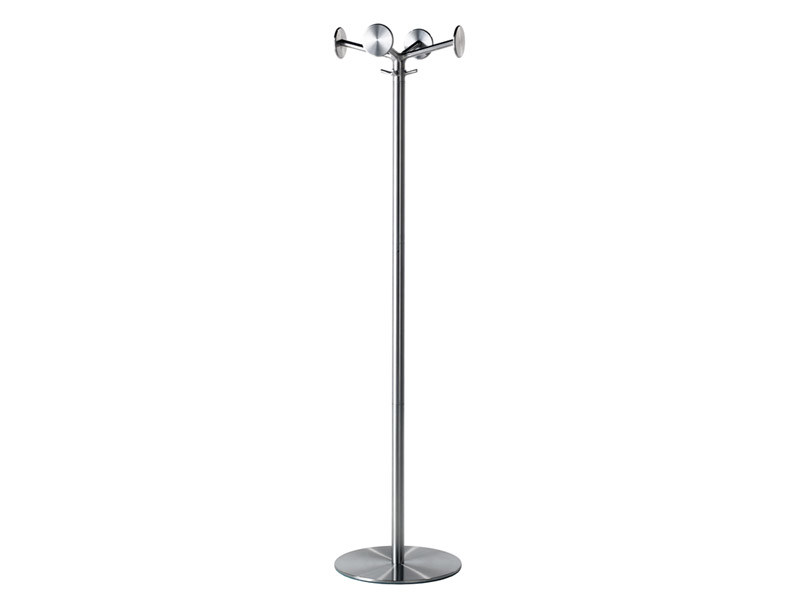 Standing brushed steel coat rack