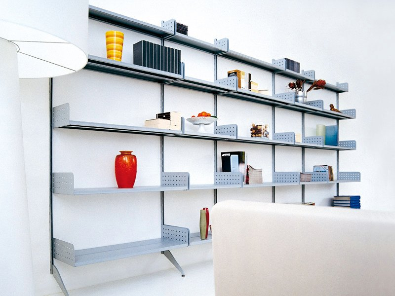 Wall-mounted steel bookcase