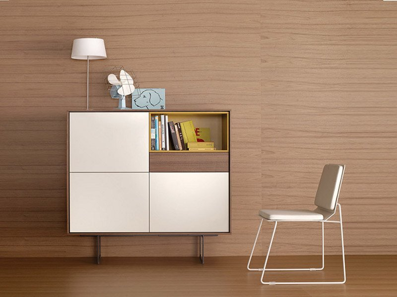 Lacquered wooden highboard AURA S5 by TREKU