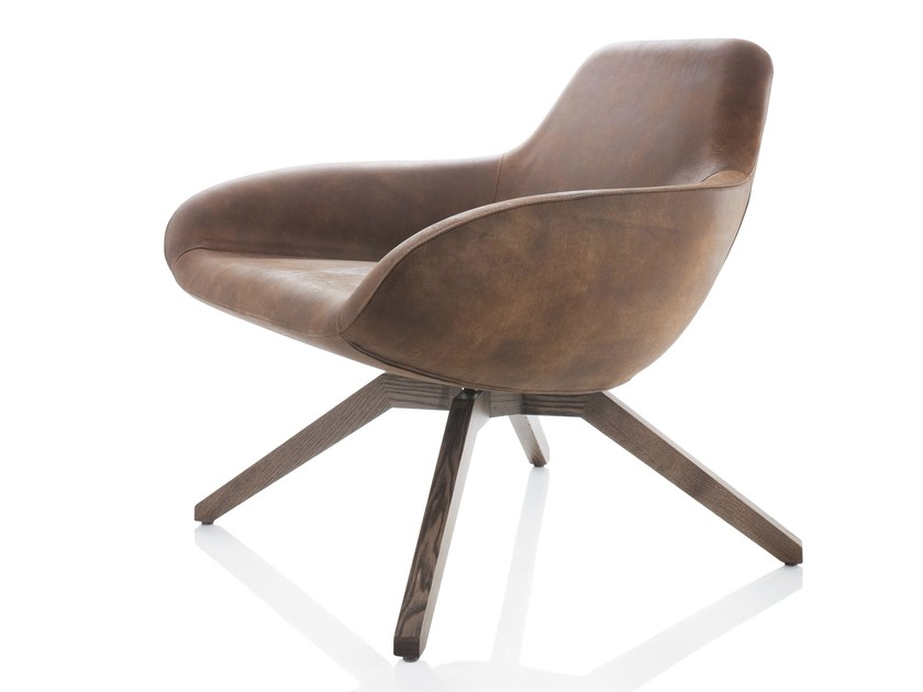 Upholstered trestle-based leather armchair X BIG | Leather armchair - ALMA DESIGN