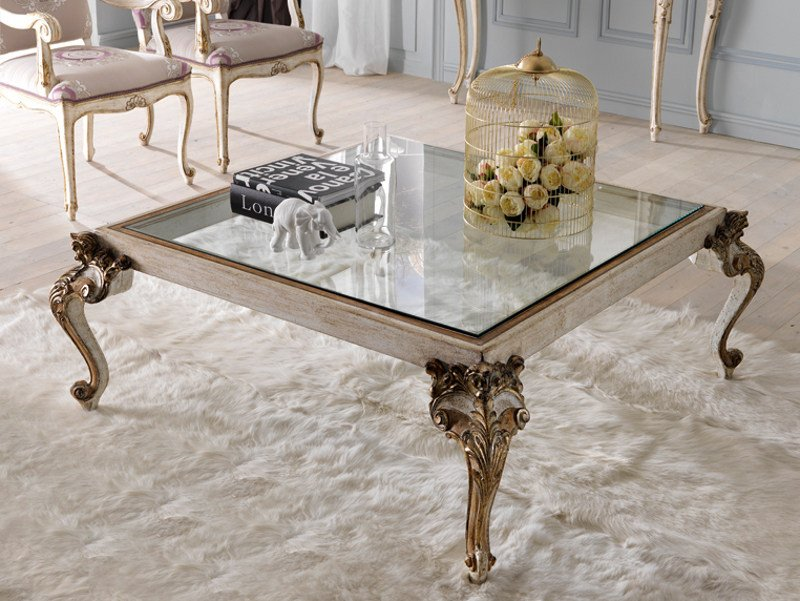 Classic style low square coffee table for living room