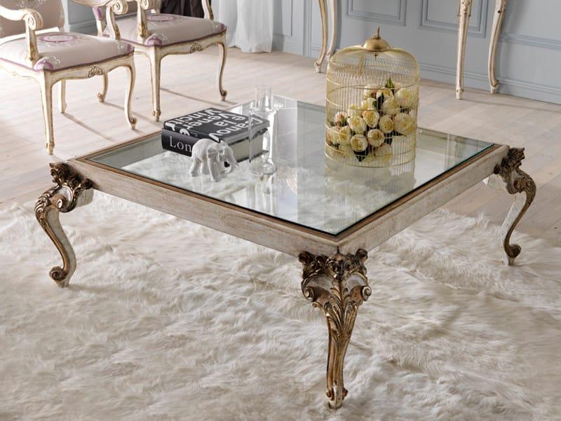 Tavolino basso quadrato in stile classico da salotto 3629 for Tavolino per salotto