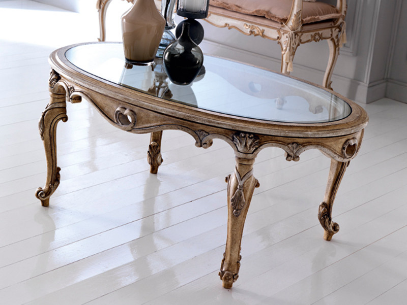 Classic style low oval coffee table for living room 3624 | Coffee table by Grifoni Silvano
