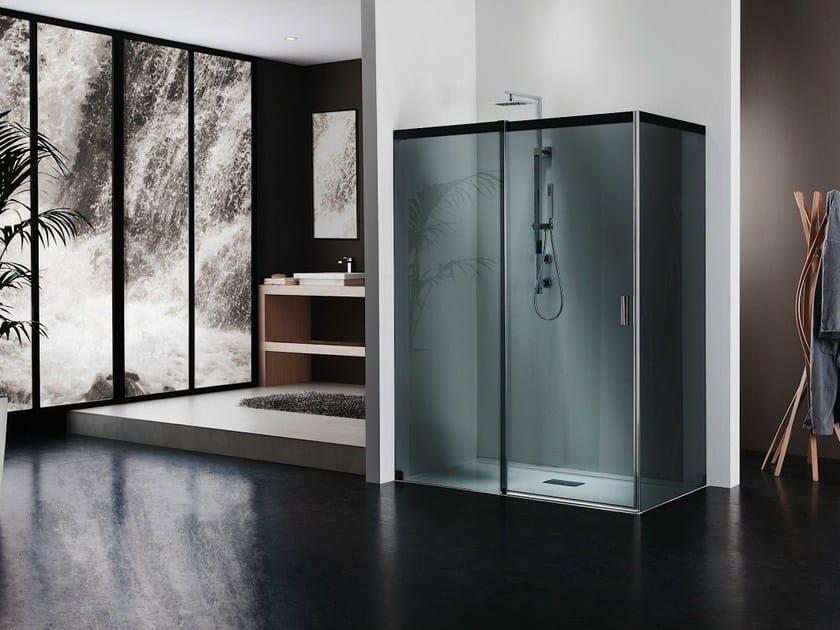 Crystal shower cabin with sliding door