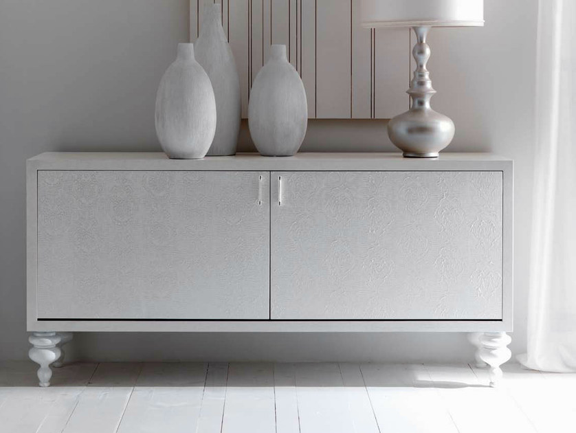 "Decapé wooden sideboard with doors - ""sablè"" sandblasted oak with ""Rococò""- decorated doors with silver ""Diamond"" handles and glossy white wooden feet"