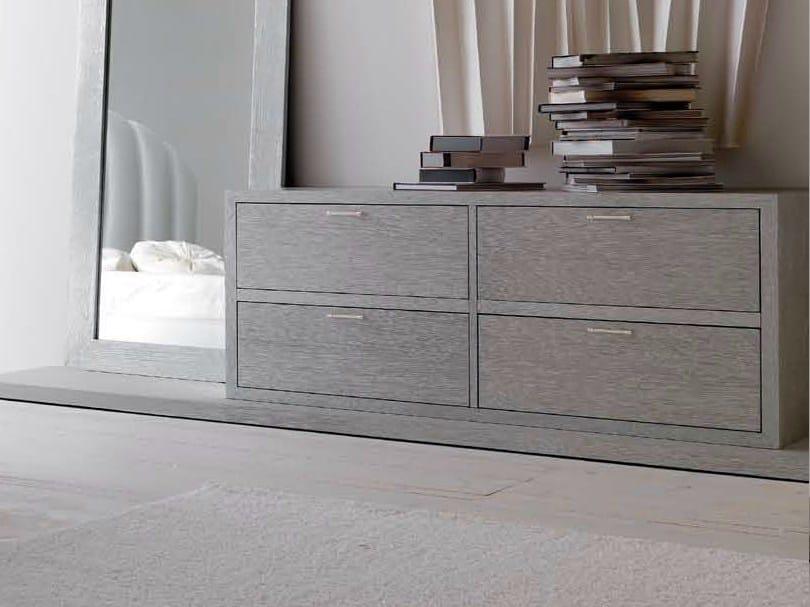 "Wooden dresser - Rovere sabbiato foglia argento ""Carrara"" cat. F maniglie ""Diamond"" argento"
